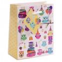 Sac Cadeau Hibou Happy Birthday   11 x 6 x 14 cm