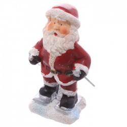 Mini Figurine Père Noël Ski avec petit sac cadeau