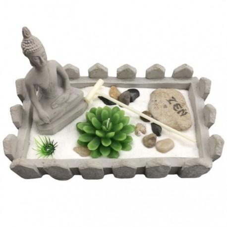 Jardin Zen Bouddha Thaï - Forme Rectangulaire avec Barrière