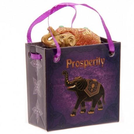 """Eléphant Porte Bonheur """"Prospérité"""" avec petit sac cadeau"""