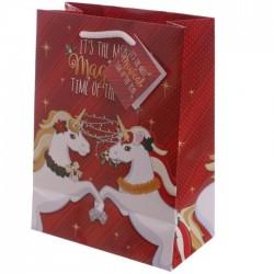 Sac Cadeau Licorne de Noël 17 x 9 x 23 cm