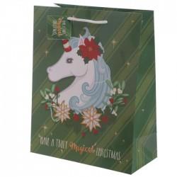 Sac Cadeau Licorne Noël 26 x 12 x 33 cm