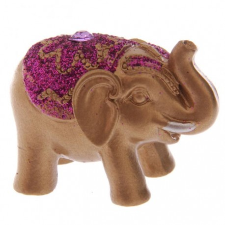 Mini Eléphant Pailleté Rose Porte Bonheur