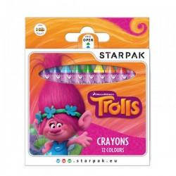 "Set de 12 Crayons de couleur Cire ""Trolls"""